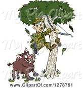 Swine Clipart of Cartoon Boar Chasing a Scared Male Hunter into a Tree by Dennis Holmes Designs