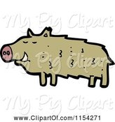 Swine Clipart of Cartoon Boar Pig by Lineartestpilot