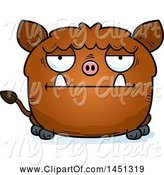 Swine Clipart of Cartoon Bored Boar Character Mascot by Cory Thoman