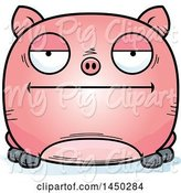 Swine Clipart of Cartoon Bored Pig Character Mascot by Cory Thoman