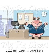 Swine Clipart of Cartoon Boss Business Pig with a Cigar, Sunglasses and Open Arms by an Office Desk by Hit Toon