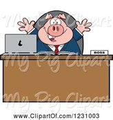 Swine Clipart of Cartoon Boss Business Pig with Open Arms at an Office Desk by Hit Toon
