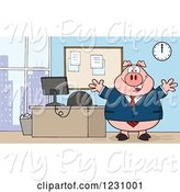 Swine Clipart of Cartoon Boss Business Pig with Open Arms by an Office Desk by Hit Toon