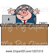 Swine Clipart of Cartoon Boss Business Pig with Sunglasses and a Cigar at an Office Desk by Hit Toon