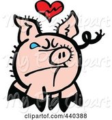 Swine Clipart of Cartoon Broken Hearted Pig Crying - 1 by Zooco
