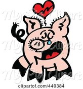 Swine Clipart of Cartoon Broken Hearted Pig Crying - 2 by Zooco