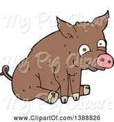 Swine Clipart of Cartoon Brown Pig by Lineartestpilot