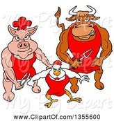 Swine Clipart of Cartoon Buff Bbq Chef Bull, Chicken and Pig Flexing Their Muscles by LaffToon