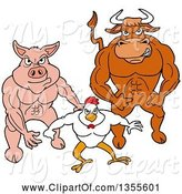 Swine Clipart of Cartoon Buff Bull, Chicken and Pig Flexing Their Muscles by LaffToon