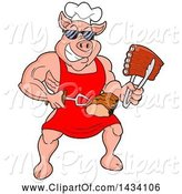 Swine Clipart of Cartoon Buff Chef Pig Wearing Sunglasses and Holding Ribs in Tongs and Brisket on a Fork by LaffToon