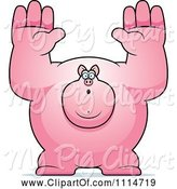 Swine Clipart of Cartoon Buff Pig Giving up by Cory Thoman