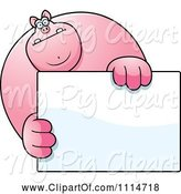Swine Clipart of Cartoon Buff Pig Holding a Sign 1 by Cory Thoman