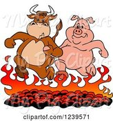 Swine Clipart of Cartoon Bull and Pig Running over Hot Bbq Coals by LaffToon