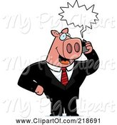 Swine Clipart of Cartoon Business Pig Using a Cell Phone by Cory Thoman