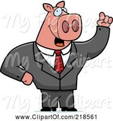 Swine Clipart of Cartoon Business Pig with an Idea by Cory Thoman