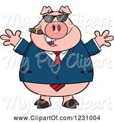 Swine Clipart of Cartoon Business Pig with Open Arms, a Cigar and Sunglasses by Hit Toon