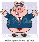 Swine Clipart of Cartoon Business Pig with Open Arms, a Cigar and Sunglasses over Purple by Hit Toon