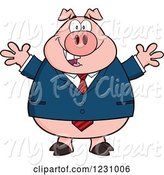 Swine Clipart of Cartoon Business Pig with Open Arms by Hit Toon