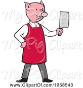 Swine Clipart of Cartoon Butcher Pig Holding a Cleaver by Patrimonio