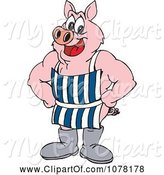 Swine Clipart of Cartoon Butcher Pig Wearing an Apron and Boots and Standing with Hands on His Hips by Dennis Holmes Designs