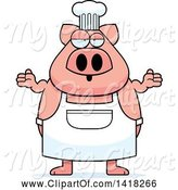Swine Clipart of Cartoon Careless Chef Pig Shrugging by Cory Thoman