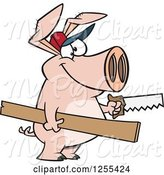 Swine Clipart of Cartoon Carpenter Pig Holding Lumber and a Saw by Toonaday