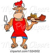 Swine Clipart of Cartoon Chef Bull Holding a Bbq Platter of Meats by LaffToon