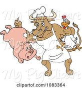 Swine Clipart of Cartoon Chef Bull Holding a Pig and Chicken by LaffToon