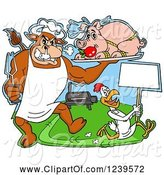 Swine Clipart of Cartoon Chef Bull Holding a Stuffed Pig on a Platter over a Chicken with a Sign by a Bbq Grill by LaffToon
