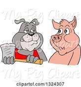Swine Clipart of Cartoon Chef Bulldog Holding an Axe and Eying a Pig by LaffToon