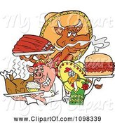 Swine Clipart of Cartoon Chef Chicken Pig and Cow Holding Ribs Roasted Bird and Pulled Pork Burger by LaffToon