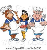 Swine Clipart of Cartoon Chef Cow, Chicken and Pig with Brisket, Ribs and Roasted Chicken by LaffToon