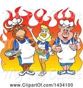 Swine Clipart of Cartoon Chef Cow, Chicken and Pig with Fish and Shrimp over Flames by LaffToon