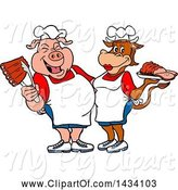 Swine Clipart of Cartoon Chef Pig and Cow with Ribs and Brisket by LaffToon