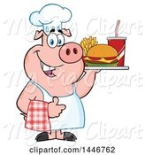 Swine Clipart of Cartoon Chef Pig Giving a Thumb up and Holding a Cheeseburger, Fries and Soda on a Tray by Hit Toon