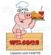 Swine Clipart of Cartoon Chef Pig Giving a Thumb up and Holding a Cheeseburger, Fries and Soda on a Tray over a Welcome Sign by Hit Toon