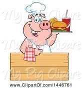 Swine Clipart of Cartoon Chef Pig Giving a Thumb up and Holding a Cheeseburger, Fries and Soda on a Tray over a Wood Sign by Hit Toon