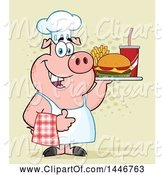 Swine Clipart of Cartoon Chef Pig Giving a Thumb up and Holding a Cheeseburger, Fries and Soda on a Tray over Halftone by Hit Toon