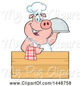 Swine Clipart of Cartoon Chef Pig Giving a Thumb up and Holding a Cloche Platter over a Blank Wood Sign by Hit Toon