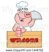 Swine Clipart of Cartoon Chef Pig Giving a Thumb up and Holding a Cloche Platter over a Welcome Sign by Hit Toon