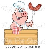 Swine Clipart of Cartoon Chef Pig Giving a Thumb up and Holding a Sausage over a Blank Sign by Hit Toon