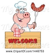 Swine Clipart of Cartoon Chef Pig Giving a Thumb up and Holding a Sausage over a Welcome Sign by Hit Toon