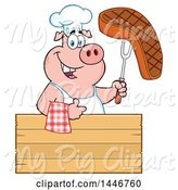 Swine Clipart of Cartoon Chef Pig Giving a Thumb up and Holding a Steak over a Blank Wood Sign by Hit Toon