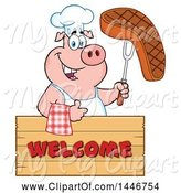 Swine Clipart of Cartoon Chef Pig Giving a Thumb up and Holding a Steak over a Welcome Sign by Hit Toon