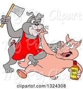 Swine Clipart of Cartoon Chef Pig Holding a Bottle of Bbq Sauce and Fighting with Bulldog a Bulldog Wielding an Axe by LaffToon