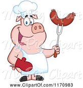 Swine Clipart of Cartoon Chef Pig Holding a Sausage on a Bbq Fork by Hit Toon