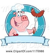 Swine Clipart of Cartoon Chef Pig Holding a Sausage on a Bbq Fork over a Blue Banner by Hit Toon