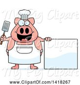 Swine Clipart of Cartoon Chef Pig Holding a Spatula by a Blank Sign by Cory Thoman