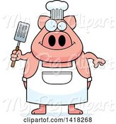 Swine Clipart of Cartoon Chef Pig Holding a Spatula by Cory Thoman
