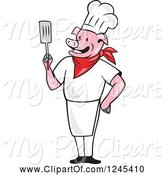 Swine Clipart of Cartoon Chef Pig Holding a Spatula by Patrimonio